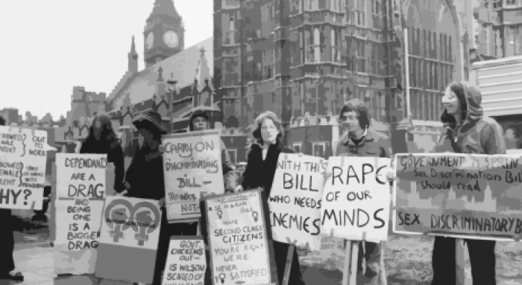 Women representing the Women's Liberation Movement protesting against the Government's Sex Discrimination Bill in 1975 CREDIT: Hulton Archive